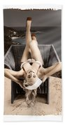 Sixties Classic Pin-up Beauty In Vintage Fashion Beach Towel by Jorgo Photography - Wall Art Gallery