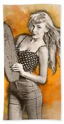 Skateboard Pin-up Illustration Beach Towel
