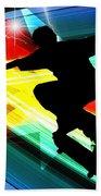 Skateboarder In Criss Cross Lightning Beach Towel by Elaine Plesser