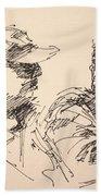 Sketch Men At Tims Beach Towel