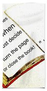 Sketch Of A Book With Quote Beach Towel