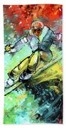 Skiing 11 Beach Towel by Miki De Goodaboom