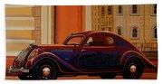 Skoda Popular Sport Monte Carlo 1935 Painting Beach Sheet