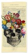 Skull With Flowers Vintage Illustration Beach Towel