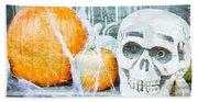 Skull And Pumpkin Beach Towel