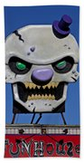 Skull Fun House Sign Beach Towel