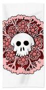 Skull Mandala Pink Beach Towel