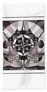 Skull Mandala Series Nr 1 Beach Towel by Deadcharming Art