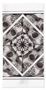 Skull Mandala Series Number Two Beach Towel by Deadcharming Art