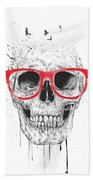 Skull With Red Glasses Beach Towel