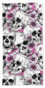Skulls And Red Flowers Beach Towel