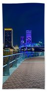 skyline and river coast scenes in Jacksonville Florida Beach Towel