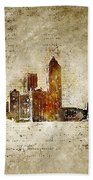 skyline of Atlanta in modern and abstract vintage-look Beach Towel