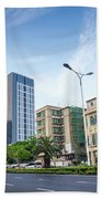 Skyscrapers And Road In Downtown Xiamen City China Beach Towel