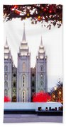 Slc Temple Red And White Beach Towel