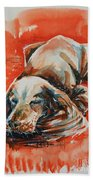 Sleeping Spaniel On The Red Carpet Beach Towel