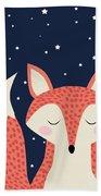 Sleepy Fox Beach Towel by Krokoneil