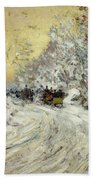 Sleigh Ride In Central Park Beach Towel by Childe Hassam