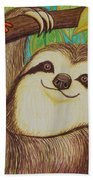 Sloth And Frog Beach Towel