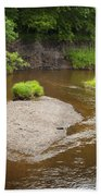 Slow River In Deep Forest Landscape Beach Towel