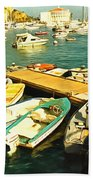 Small Boat Dock Catalina Island California Beach Towel