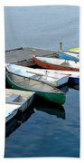 Small Boats Docked To A Pier Beach Towel