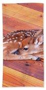 Small Deer Fawn Resting On Cedar Wood Deck Beach Towel