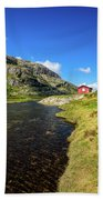 Small Red Cabin In Norway Beach Towel