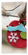 Small Red Handicraft Bird Hanging On A Wire Beach Towel
