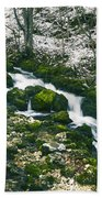 Small River In Forest In Winter Beach Towel