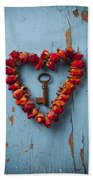 Small Rose Heart Wreath With Key Beach Towel by Garry Gay