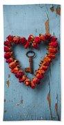 Small Rose Heart Wreath With Key Beach Sheet