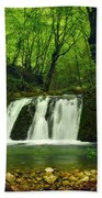 Small Waterfall In Forest Beach Towel
