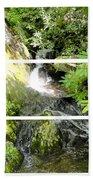 Small Waterfall Smoky Mountains Triptych Beach Towel