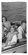 Smiling Family In Docked Boat, C.1960s Beach Towel