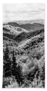 Smoky Mountains In Black And White Beach Towel