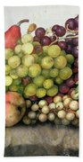 Snail With Grapes And Pears Beach Towel