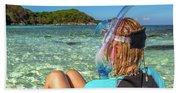 Snorkeler Relaxing On Tropical Beach Beach Towel
