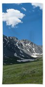 Snow And Mountains And Grass Beach Towel