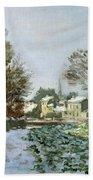 Snow At Argenteuil Beach Towel by Claude Monet