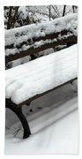 Snow Bench Beach Towel