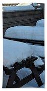 Snow Benches Beach Towel
