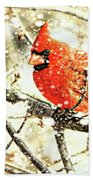 Snow Cardinal Beach Towel