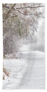 Snow Covered Brick Pillar Beach Towel