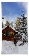 Snow Covered Cabin Beach Towel