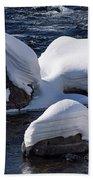 Snow Covered River Rocks Beach Towel