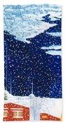 snow falling on Istanbul Beach Towel