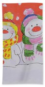 Snow Family Beach Towel by Diane Matthes