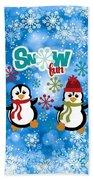 Snow Fun Penguins Beach Towel