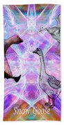 Snow Goose Moon Beach Towel